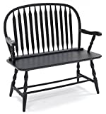 country kitchen table with bench Carolina Chair & Table 42AB Colonial Windsor Bench, Antique Black