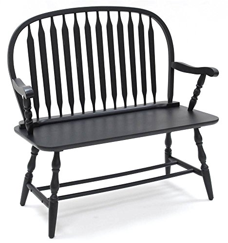 (Carolina Chair & Table 42AB Colonial Windsor Bench, Antique Black )