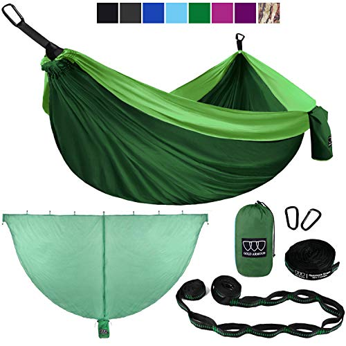 Gold Armour Camping Hammock and Bug Net Set – Double Parachute Hammock 2 Tree Straps 32 Loops 20 ft Included USA Brand Lightweight Men Women Kids, Camping Accessories Gear