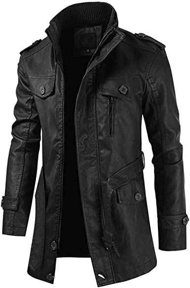 Winter Waterproof Jackets for Men.Mens Autumn Winter Casual Long Sleeve Solid Stand Zipper Leather Jacket Top