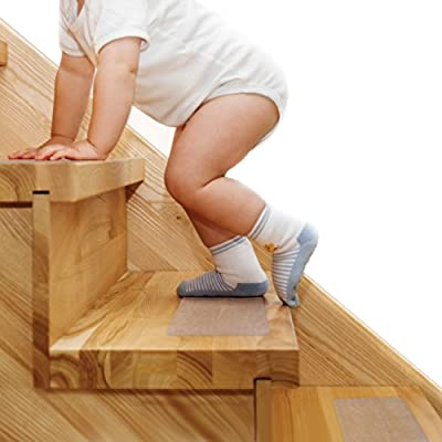 Steady Treads - Set of PVC-Free, Non-Slip Adhesive Stair Treads and Handy Installation Roller