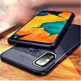 mobistyle - Shockproof Leather Textured with Camera Protection Flexible Back Cover Case for Samsung M30s (Litchi case Blue)