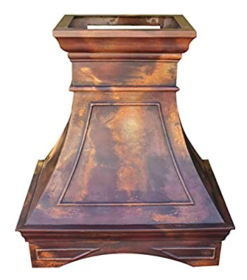 Copper Stove Range Hood for Farmhouse Kitchen Multicolor Patina with Arched Design Handcrafted by Skilled Sinda Artisan H22S
