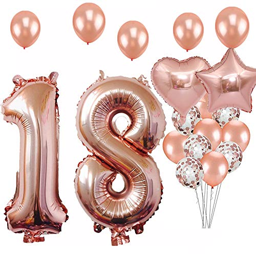 18th Birthday Decorations Party Supplies, Jumbo Rose Gold Foil Balloons for Birthday Party Supplies,Anniversary Events Decorations and Graduation Decorations Sweet 18 Party,18th -