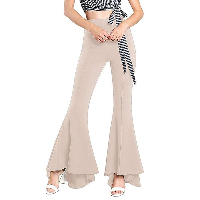 Haobing Mujeres Pantalones de Yoga Ejercicio Fitness Stretch Flare Pants Cintura Alta Pantalón Ancho Bootcut Trousers Leggings