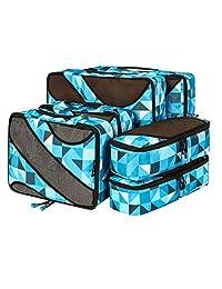 Bagail - Juego de 6 cubos de embalaje, 3 organizadores de equipaje de viaje de varios tamaños, Azul (Geometry blue)