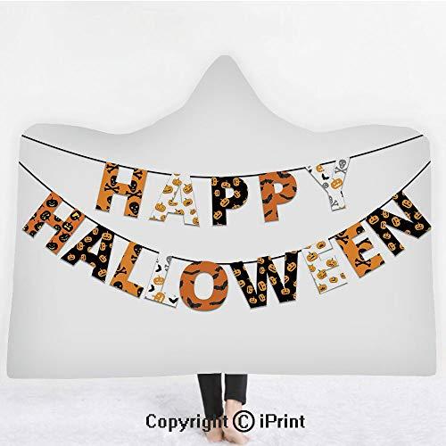 "Halloween 3D Print Soft Hooded Blanket Boys Girls Premium Throw Blanket,Happy Halloween Banner Greetings Pumpkins Skull Cross Bones Bats Pennant Decorative,Lightweight Microfiber(Kids 50""x60"")Orange B"