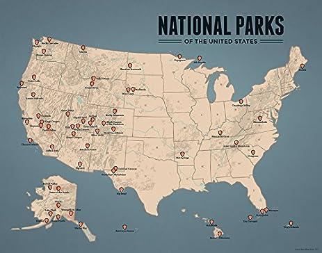 Amazoncom US National Parks Map X Print Tan Slate Blue - Us national parks map