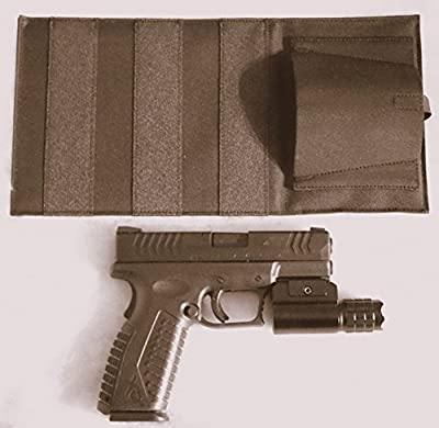 DTOM Bedside, Bed Side Holster for Gun with attached Tactical Light or Laser-Ambidextrous