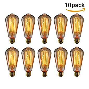 kingso vintage edison bulbs 60w squirrel cage filament antique light bulb for home light fixtures e27 e26 base st64 110v 10 pack - Antique Light Fixtures