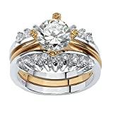 Round White Cubic Zirconia Gold Tone over .925 Sterling Silver Jacket Bridal Ring Set Size 7