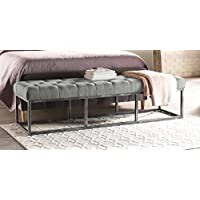 Serta Danes Tufted Bench with Iron Legs, Pearl Gray