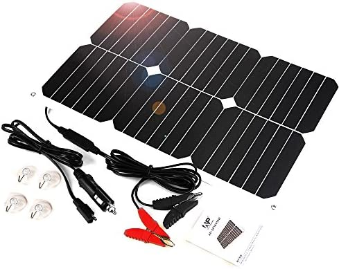 ALLPOWERS Solar Trickle Battery Maintaner 18V 12V 18W Solar Car Boat Power Panel Battery Charger Maintainer for Automotic Motorcycle Tractor Boat Car Batteries