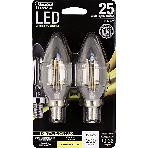 Feit Electric BPCTC25/827/LED/2 Chandelier Bulb, Candelabra Base, Clear Torpedo Tip, 25 Watt Equivalent Soft White, 2 Pack ()