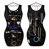 TinaWood 2PCS Jewelry & Accessories Organizer S Shaped Dress Style Non-Woven Fabric 21 Pockets 13 Hooks Double-Side Hanging Closet Jewelry Pouch/Sorting Storage Bag (Black)