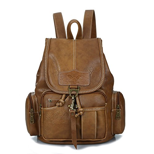 (Womens New Fashion Backpack Vintage Style Waterproof Leather Backpack Purse for Girls Light Brown)