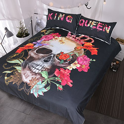 Blessliving Crowned Floral Skull Duvet Cover Red Pink Peony Bouquet King and Queen Bedding Set for Couple Gothic Bed Set (Queen)