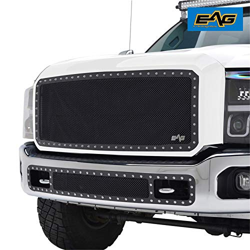 (EAG Front Hood Upper Black Steel Wire Mesh Chrome Rivets Studs Grille Fit for 11-16 Ford Super Duty F250 F350 F450 F550)