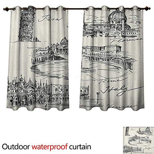 Anshesix Sketchy Outdoor Ultraviolet Protective Curtains Travel The World Themed Historical Italian Landmarks Venice Rome Florence Pisa W55 x L45(140cm x 115cm)