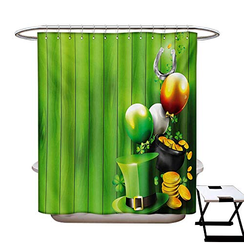 St. Patricks Day Shower Curtains Fabric Wood Design with Shamrock Lucky Clovers Pot of Gold Coins and Horse Shoe Bathroom Decor Set with Hooks W48 x L84 Fern Green