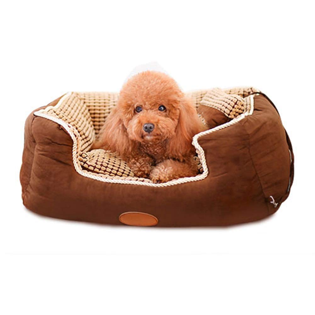 Brown L(90x68x26CM) Brown L(90x68x26CM) ZWYGXL Kennel Summer golden Retriever Dog Teddy Dog Medium-sized Dog Large Small Dog Not Easy To Dirty Washable Pet Dog Bed Supplies Four Seasons Suitable (color   Brown, Size   L(90x68x26CM))