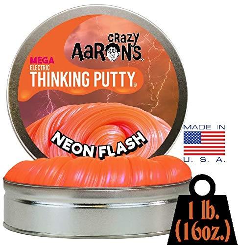 Crazy Aaron's Electric Thinking Putty MEGA Tin Neon Flash - 1 Pound (.16oz) by Crazy Aaron's (Image #4)