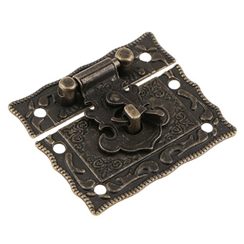 - MagiDeal Antique Embossing Decorative Brass Hasp Clasp Latch Lock with Screws for European Style Jewelry Box Decoration