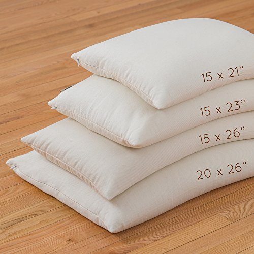 "ComfyComfy Buckwheat Hull Pillow Made in USA - Comfy Sleep (15"" x 26"")"