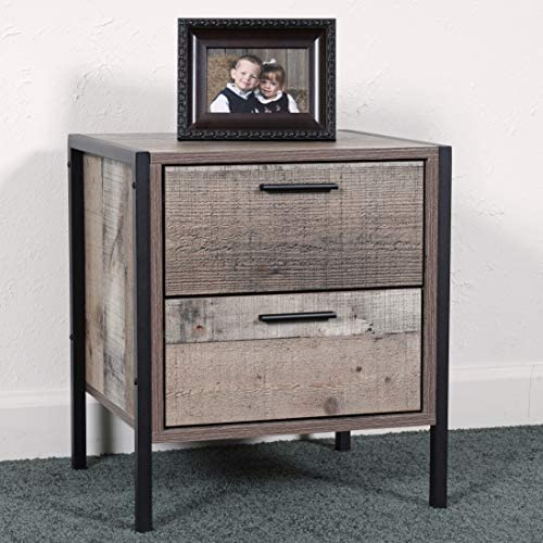 OS Home and Office Furniture Model Two Drawer Metal Frame and Legs night stand - a good cheap modern nightstand