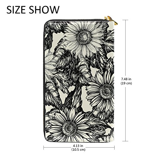 And Wallet Around Organizer 3 Pattern Zip Purses Womens Clutch Leather Sunflowers TIZORAX Handbags xqwYOvgxT