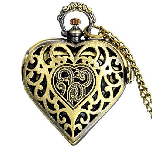 JewelryWe Valentine's Day Gift for Her Vintage Filigree Flower Pattern Hollow Heart Pocket Watch Pendant Quartz Sweater Necklace Chain