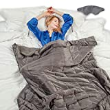 Weighted Blanket- Premium Comfort Microplush and Heavy Sleep Mask with Glass Beads