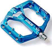 """Ansjs 3 Bearings Mountain Bike Pedals Platform Bicycle Flat Alloy Pedals 9/16"""" Pedals Non-Slip Alloy Flat"""