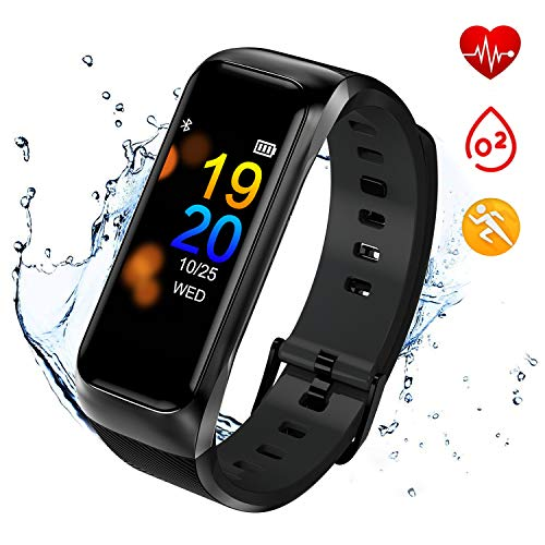 Fitness Tracker Waterproof,ISWIM Activity Tracker with Heart Rate Blood Pressure Monitor, Color Screen Smart Bracelet with Sleep Tracking Calorie Counter, Pedometer Watch for Kids Women Men (Black)