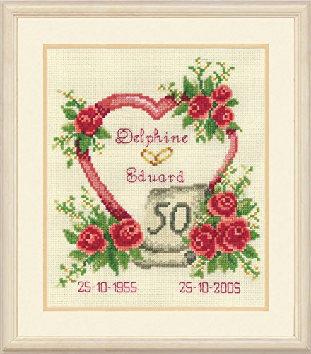 Vervaco Golden 50th Wedding Anniversary Heart Cross Stitch K