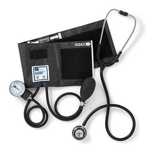 Medline Compli-Mates Aneroid Sphygmomanometer and Dual Head Stethoscope Kit, Carrying Case, Adult Blood Pressure Cuff, Manual, Professional, Black