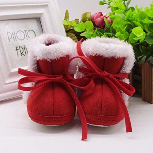 Xshuai Neugeborene Baby Mädchen Jungen Bär Druck Herbst Winter Soft Sole Stiefel Prewalker Warm Schuhe Rot
