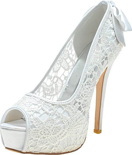 Eu 37 Comfort Peep Toe Platform Wedding Party Dress Bride White Pumps Lace Prom Ladies Knot Bridesmaid 3128 05 Work UwqTSp4