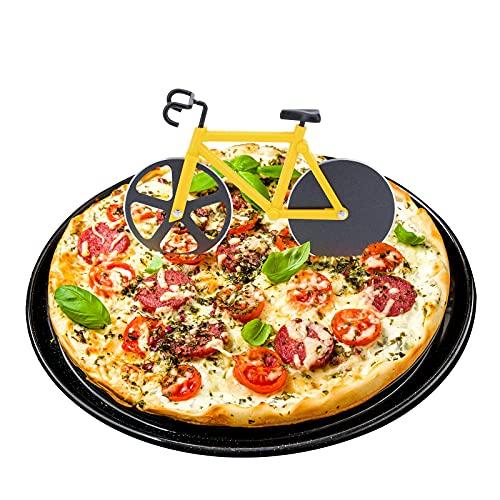 ShawFly Fiets Pizza Cutter RVS Roller Pizza Cutter, met Scherp Blade, Creatieve Keuken Gereedschap (Geel)