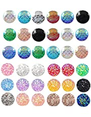 Alysee 200 Pieces Mixed Round Resin Cabochon Flatback Druzy Iridescent Colorful Mermaid Scale Cabochons DIY Accessories, Multi-color