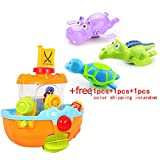 Summer Cool Plastic Pirate Ship Baby Kids Toddler Bath Toy Water Fun Play with Free Crocodile Hippo Turtle Bathtub Toy,Nice Sand Water Playsets