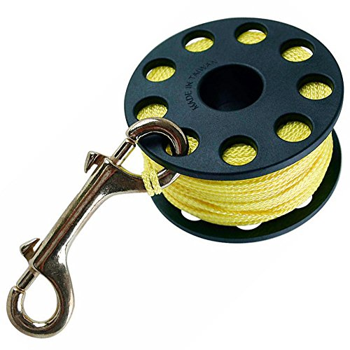 (Finger Reel with Brass Clip Wreck Scuba Diving Tech Spool 3 Sizes, LARGE 160 FT )