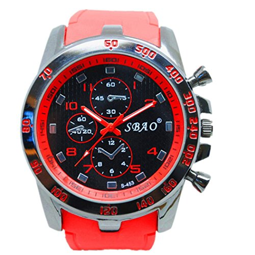 SMTSMT Stainless Steel Sport Modern Men Fashion Wrist Watch - Red