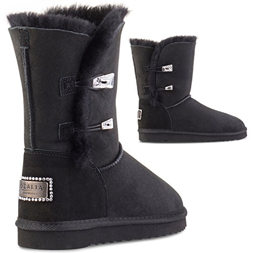 OZALIA Black Winter Boots For Women - Ladies Boots Water Resistant - Classic Mid-Calf Sheepskin Leather Hand Crafted With Swarovski Crystals (Size 40, Color Black)