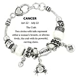 DianaL Boutique Zodiac Sign Cancer the Crab Horoscope Bracelet Pandora Inspired Silver Plated Gift Boxed Fashion Jewelry