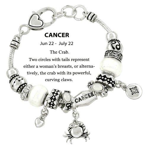 t Slide Metal Murano Beads Silvertone Cancer (Cancer Scorpio Zodiac)