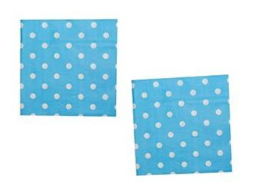 Lote de 200 Servilletas Desechables color Azul con Lunares Blancos. Vajillas y Cuberterias. Complementos de Cumpleaños y Fiestas.