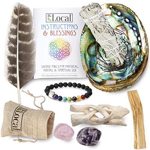 (JL Local Chakra Smudging Kit - 10 Items Including White Sage Smudge Sticks, Palo Santo, Amethyst, Rose Quartz, Abalone Shell, Stand & Gift)