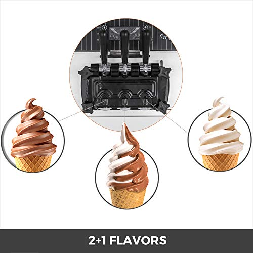 VEVOR 2200W Commercial Soft Ice Cream Machine 3 Flavors 5.3-7.4Gallons/H Auto Clean LED Panel Perfect for Restaurants Snack Bar supermarkets, 2200W, Sliver/Desktop by VEVOR (Image #3)