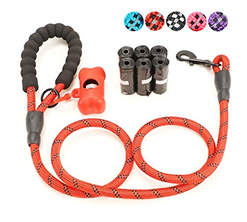 U2Paw All-in-One Dog Walking Set - 90 Counts Dog Waste Bags + 5 FT Reflective Dog Leash with Padded Handle + Bone - D-ring Bones